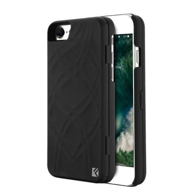 Secret Wallet Mirror Case For Iphones - Black / For Iphone 8 - Iphone