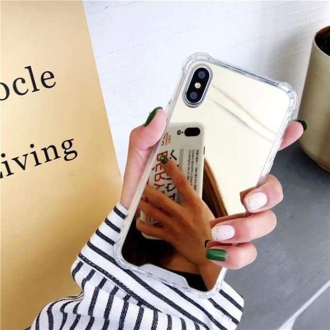 Shock Absorbing Selfie Ready Mirrored Iphone Case - Gold / For Iphone 6 6S