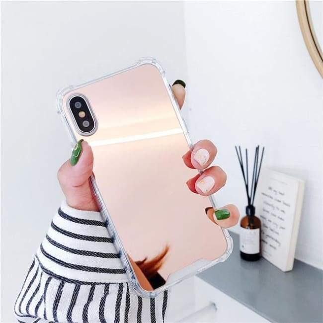 Shock Absorbing Selfie Ready Mirrored Iphone Case - Rose / For Iphone 6 6S