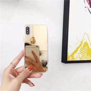Shock Absorbing Selfie Ready Mirrored Iphone Case - Soft Tpu Gold / For Iphone 6 6S