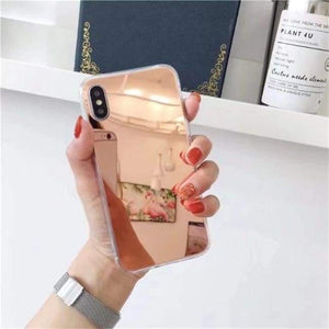 Shock Absorbing Selfie Ready Mirrored Iphone Case - Soft Tpu Rose / For Iphone 6 6S