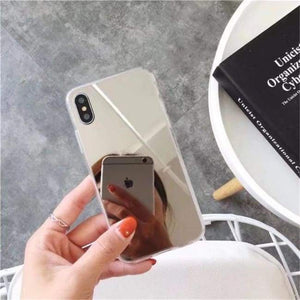 Shock Absorbing Selfie Ready Mirrored Iphone Case - Soft Tpu Silver / For Iphone 6 6S