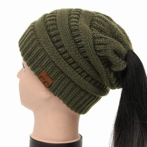 Soft Knit Ponytail Beanie - Army Green