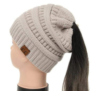 Soft Knit Ponytail Beanie - Beige