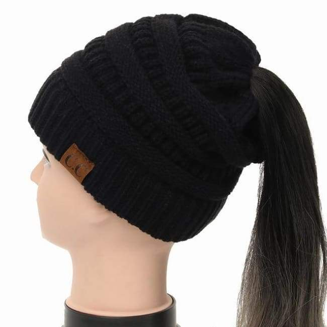 Soft Knit Ponytail Beanie - Black