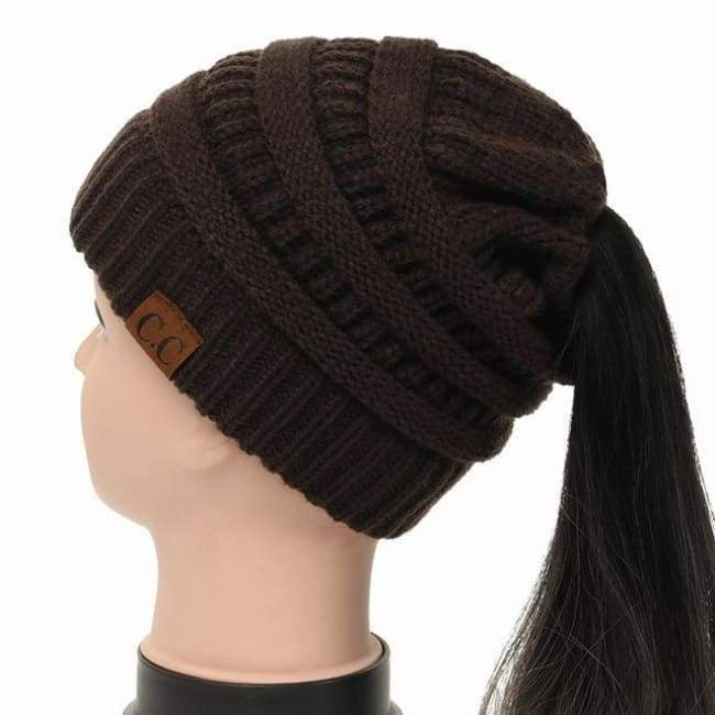 Soft Knit Ponytail Beanie - Brown