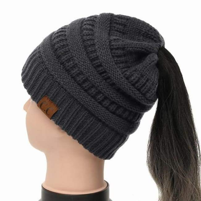 Soft Knit Ponytail Beanie - Charcoal