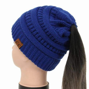 Soft Knit Ponytail Beanie - Cobalt Blue