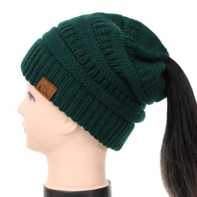 Soft Knit Ponytail Beanie - Forrest Green