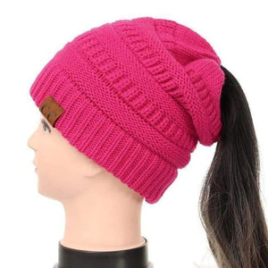 Soft Knit Ponytail Beanie - Fuschia