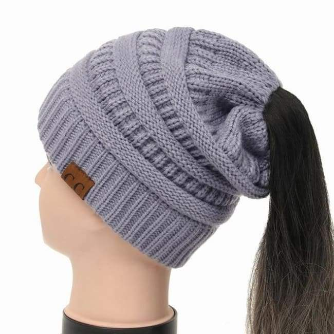 Soft Knit Ponytail Beanie - Gray/blue