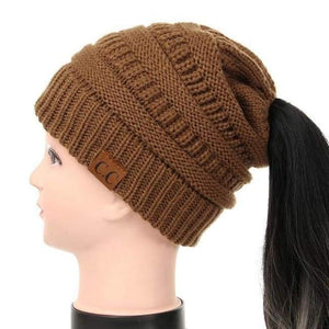 Soft Knit Ponytail Beanie - Honey Brown