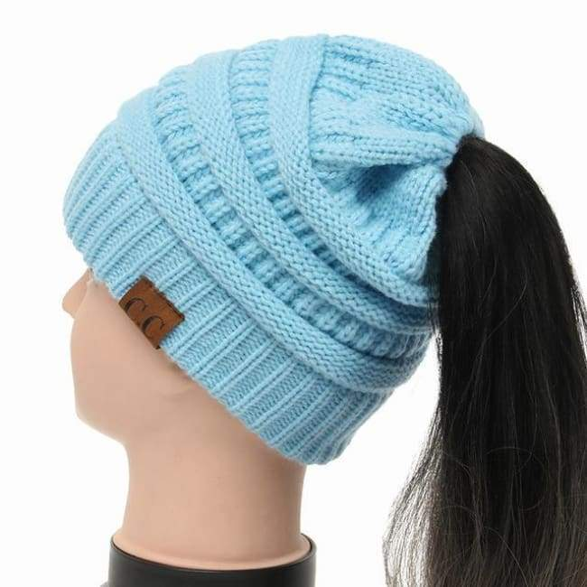 Soft Knit Ponytail Beanie - Ice Blue