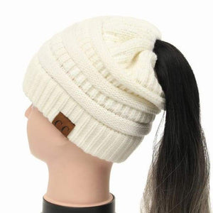 Soft Knit Ponytail Beanie - Ivory