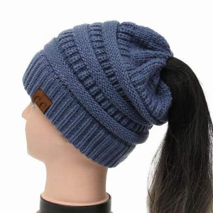 Soft Knit Ponytail Beanie - Jean