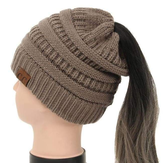 Soft Knit Ponytail Beanie - Light Brown