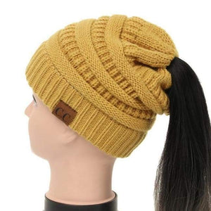 Soft Knit Ponytail Beanie - Mustard