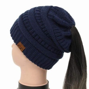 Soft Knit Ponytail Beanie - Navy