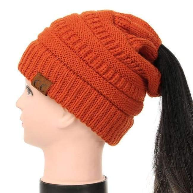 Soft Knit Ponytail Beanie - Orange