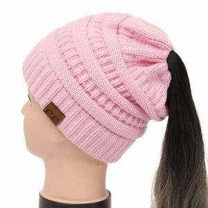 Soft Knit Ponytail Beanie - Pink
