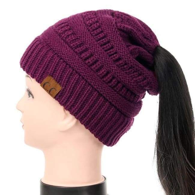 Soft Knit Ponytail Beanie - Plum