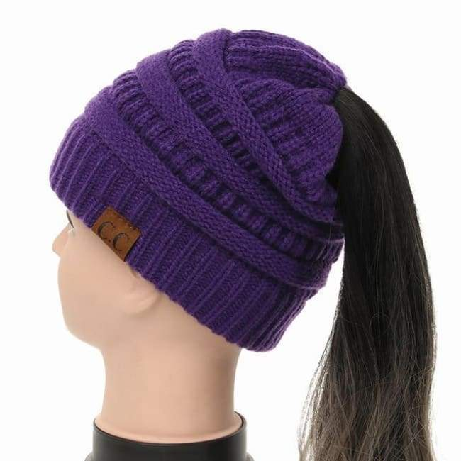 Soft Knit Ponytail Beanie - Purple