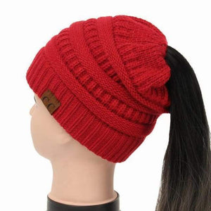 Soft Knit Ponytail Beanie - Red