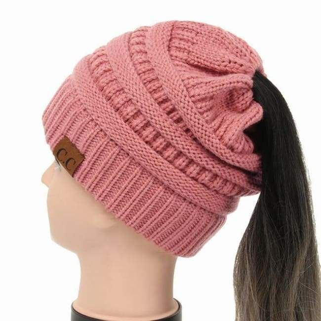 Soft Knit Ponytail Beanie - Rose