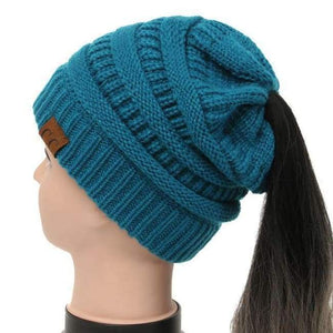 Soft Knit Ponytail Beanie - Teal