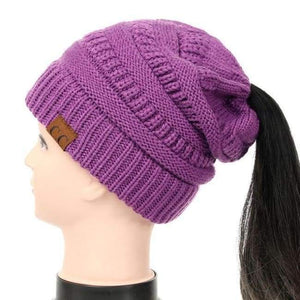 Soft Knit Ponytail Beanie - Violet