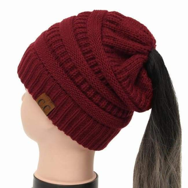 Soft Knit Ponytail Beanie - Wine