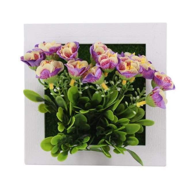 Succulent Wall Hanger Frame - Purple & Yellow Flowers - Frame