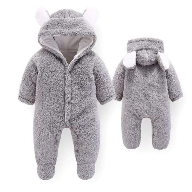 Velvet & Cotton Baby Winter Suit - Gray