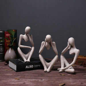 Vintage Sandstone Person Thinking Figurines