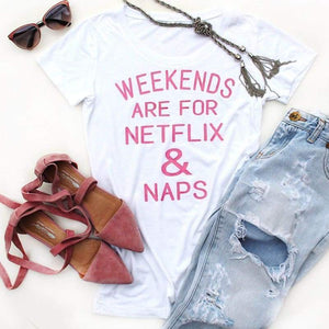 Weekend T-Shirt - S / White & Pink
