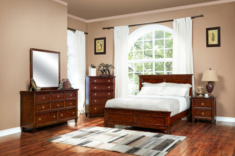 New Classic Furniture Tamarack 4 or 5 Piece Queen Bedroom Set in Brown Cherry