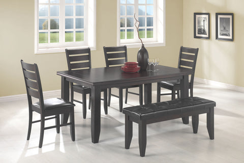 6 pc  Dalila Casual Dining Table with Tapered Legs & 4 Side Chairs & Bench