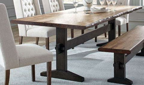 Burnham Two-Tone Live Edge Dining Table with Trestle Base