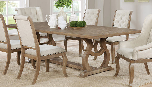 Shown in: Barley Brown Finish Also available in:  Glen Cove Traditional Dining Table with Trestle
