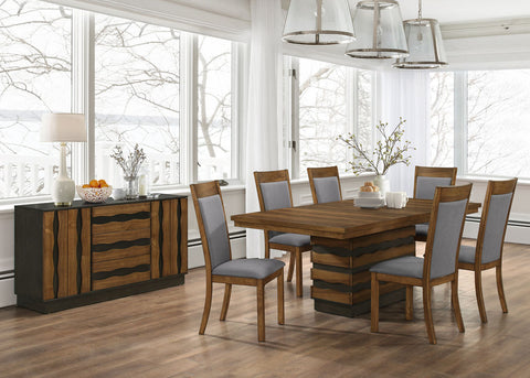 7pc Octavia Dining Table with Hidden Storage in Base & 6 Side Chairs