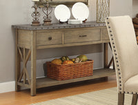 Webber Transitional Style Server with Metal Top and Nailhead Trim