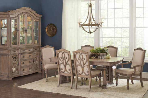 5 pc Ilana Traditional Rectangular Dining Table with Two Pedestals & 4 Side Chairs