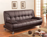 Coaster 300418 Brown Vinyl Sofa Bed Futon with Removable Armrests
