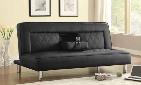 Coaster Futon Sofa Bed in Black Leatherette with Drop Console & Cup Holders