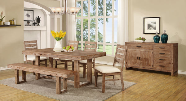 "5 pc Elmwood Rustic ""U"" Base Dining Table & 4 Side Chairs"
