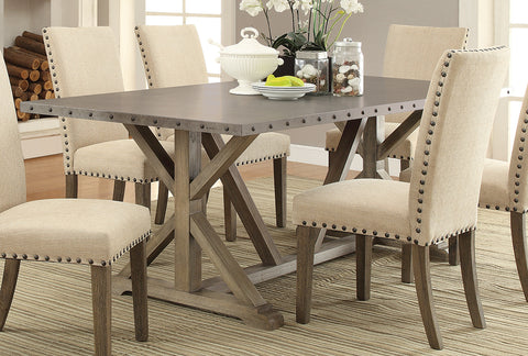 5pc  Webber Transitional Style Dining Table with Metal Top and Nailhead Trim w/ 4 Side Chairs