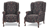 High back recliner with Oak Queen Anne legs Style:1051