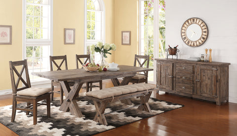 Tuscany Park Vintage Grey Extendable Dining Room Table w/Leaf