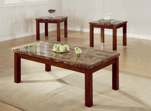 Occasional Table Sets 3 Piece Occasional Table Set with Marble Look Top