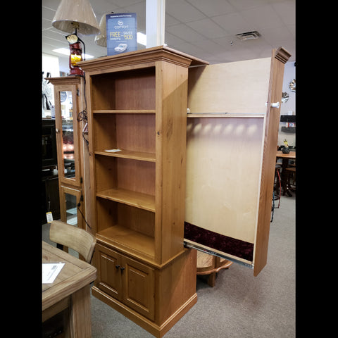 Handmade Amish Solid Wood Curio Cabinet with Hideaway Gun Case